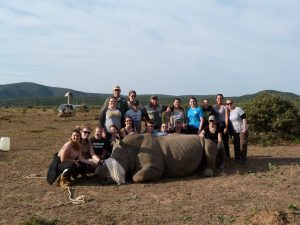 The African Wildlife Group with Dr. William Fowlds and the rhino