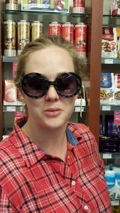Sarah sporting a lovely pair of sunglasses.