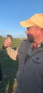 Dan with one our live small mammal captures...a Cape Robin-Chat
