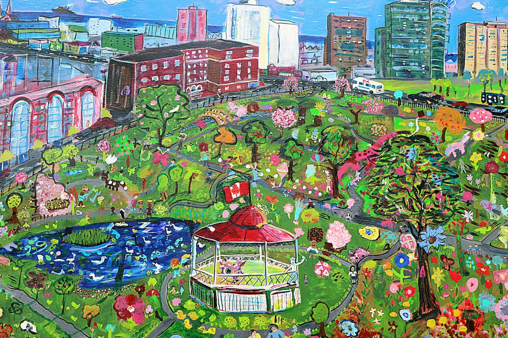 Created and Painted by the Students, Staff, and alumnae of the Sacred Heart School of Halifax with artist, Kyle Jackson