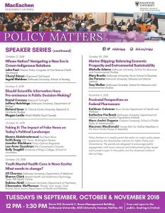 Policy Matters Speaker Series 2018
