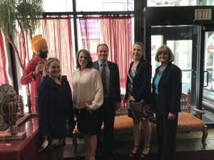 Calgary MBA(FS) Alumni from left to right: Jocelyn Beckett (2019), Roxanne Lieverse (2015) , David Clarke(2014), Jaclyn Perrot(2015) , Ellen Dungen (2000)