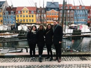 Hope Scheller (second from left) and friends in Nyhavn, Copenhagen