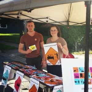 DalTRAC team members, Dylan and Sara, promote the Share the Road campaign at the SWITCH Open Street Sundays event in Halifax