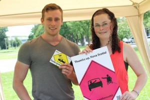 DalTRAC team members, Dylan and Sara, promote the Share the Road campaign at the Heartland Tour event in Halifax. (Photo: Bruno, Snap Halifax, July 5, 2015)