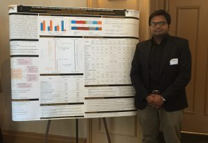 Nazmul Khan presenting his poster entitled Life Course-Oriented Approach of Modeling Vehicle Ownership State and Vehicle Type Choice Using Panel Data