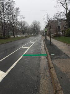 The green line shows the location of the permanent bicycle counter outside the Dalhousie Arts Centre. Once crossing this imaginary line on a bicycle, the display should update.