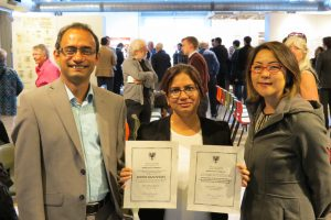 Dr. Ahsan Habib pictured with award winner Shaila Jamal and Dr. Mikiko Terashima