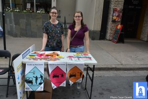 DalTRAC team members Samantha MacLellan and Sara Campbell promote the Share the Road campaign.