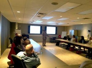 Dr. Ahsan Habib presents his evacuation simulation research to Red Cross volunteers