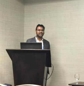Mahmudur Fatmi presents his research on implementing a proto-type Life-oriented Agent-based Integrated Transport Land Use and Energy Model