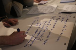 Attendees answering one of the workshop discussion questions