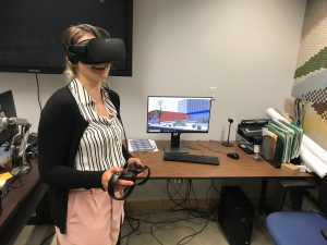 DalTRAC member Katie using the Oculus Rift VR Headset