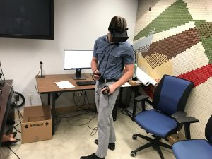 DalTRAC Intern Devin using the VR headset
