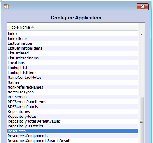 "Select ""Resources"" from the Configure Application list"