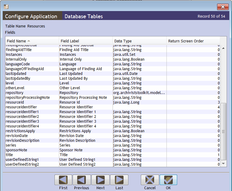 The window to configure the Resources table allows you to edit 54 different fields.
