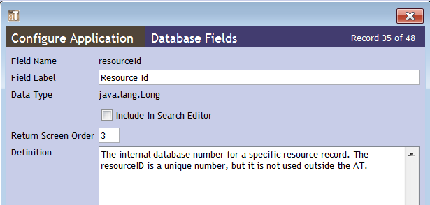 Editing the ResourceID data field in the Resources table