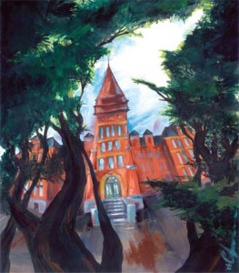 Dal alum Phil Leadbeater commissioned artist Chase Wills to paint the Forrest Building.