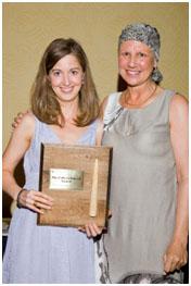 Professor Kiberd presents the award named in her honour to graduate Tammy Baxter.