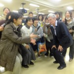 Dr. Carswell with students at the Hiroshima Prefecture University