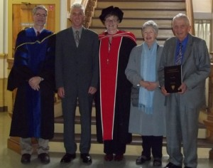 Russell Sampson, Dave Jurczak, Robin Stadnyk, Elaine Jurczak and Joe Jurczak (holding Susan's thesis) attended a graduation reception at the School of Occupational Therapy.