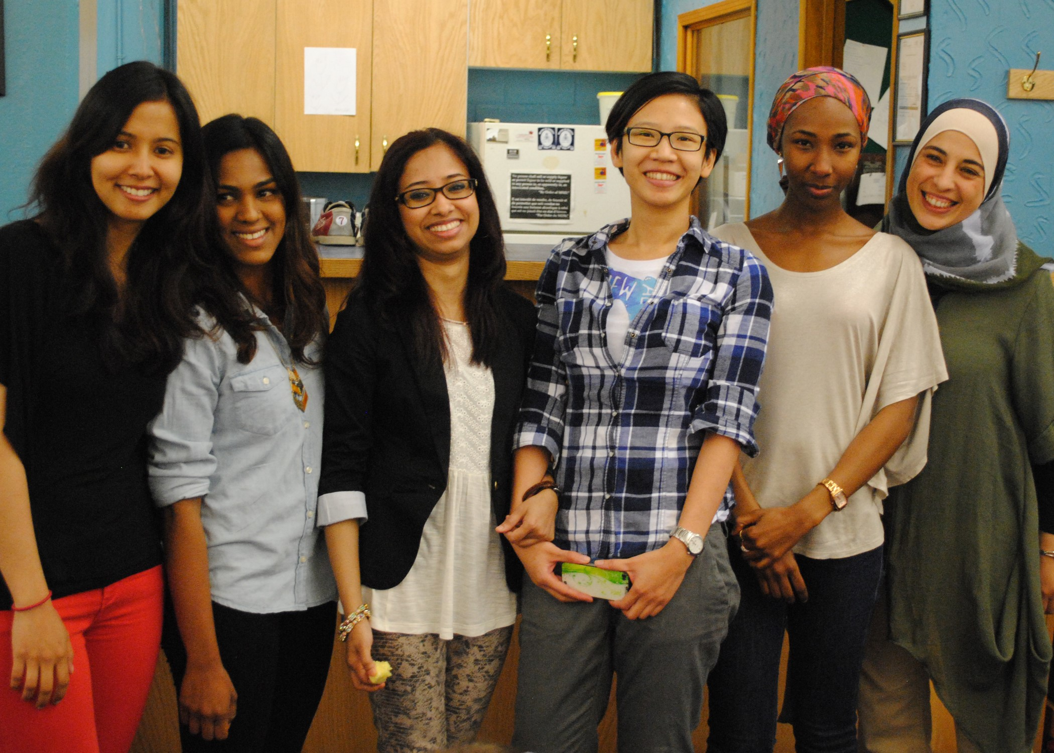 (L-R): Nirmal Randhawa, Alison Lopez, Ripa Akter, Sin Ling Lim, Mariam Shehu and Suha Masalmeh