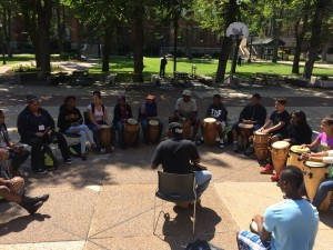 African drumming session in the Tupper Courtyard