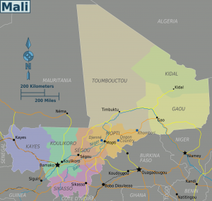 A map of Mali for all the geography buffs, with the Koulikoro region pictured in green.
