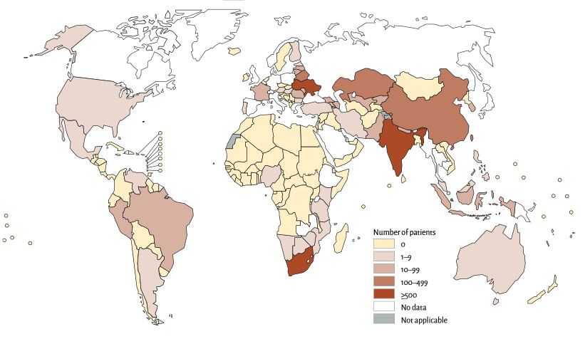 Map of the world, showing the number of laboratory-confirmed cases of XDR-TB receiving treatment by country, 2014. (Source: World Health Organization).