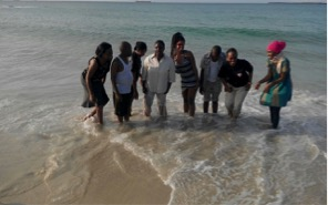 Students from the Masters of Midwifery and Women's Health program at Muhimbili University of Health and Allied Sciences (MUHAS) and myself enjoying the warm waters of the Indian Ocean.