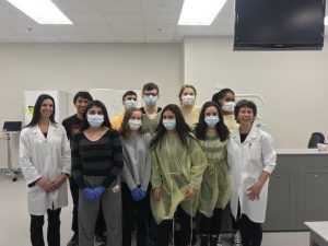camp participants in the Dentistry lab