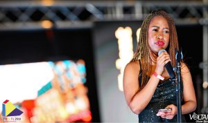 """Reciting my poem """"Strong Black Woman"""" during the talent portion of Canada's Next top pharmacist"""