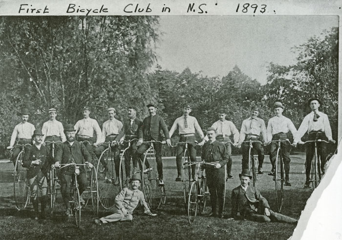 First bicycle club in Nova Scotia, 1893.  Photograph from the Pickford and Black fonds (MS-4-50, Box PC3, File 55).