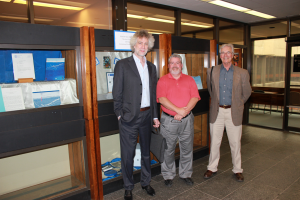 Nikolaus Gelpke, Michael Moosberger, and Michael Butler at the Elisabeth Mann Borgese exhibit on the 5th Floor of the Killam Memorial Library