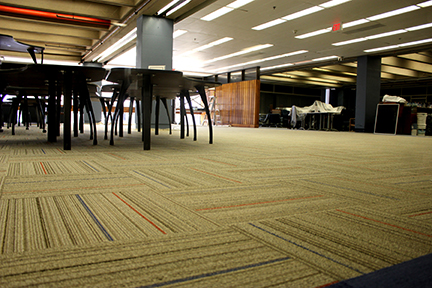 New tile carpeting gives the who room a fresh feel.
