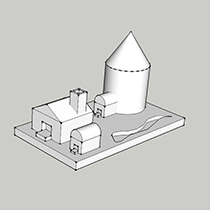 The farmhouse model as it looks in Sketchup.