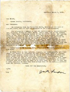 Resignation letter from Jack London to members of the Socialist Party (MS-10-1, Box 2, Folder 9)