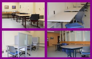Examples of the reconfigured study space in the MacRae Library's lower level.