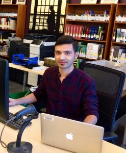 Arun on the job at the Sexton Library.