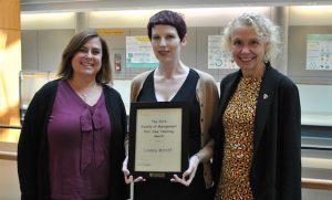 SIM director Sandra Toze, Lindsay McNiff and interim dean Vivian Howard.