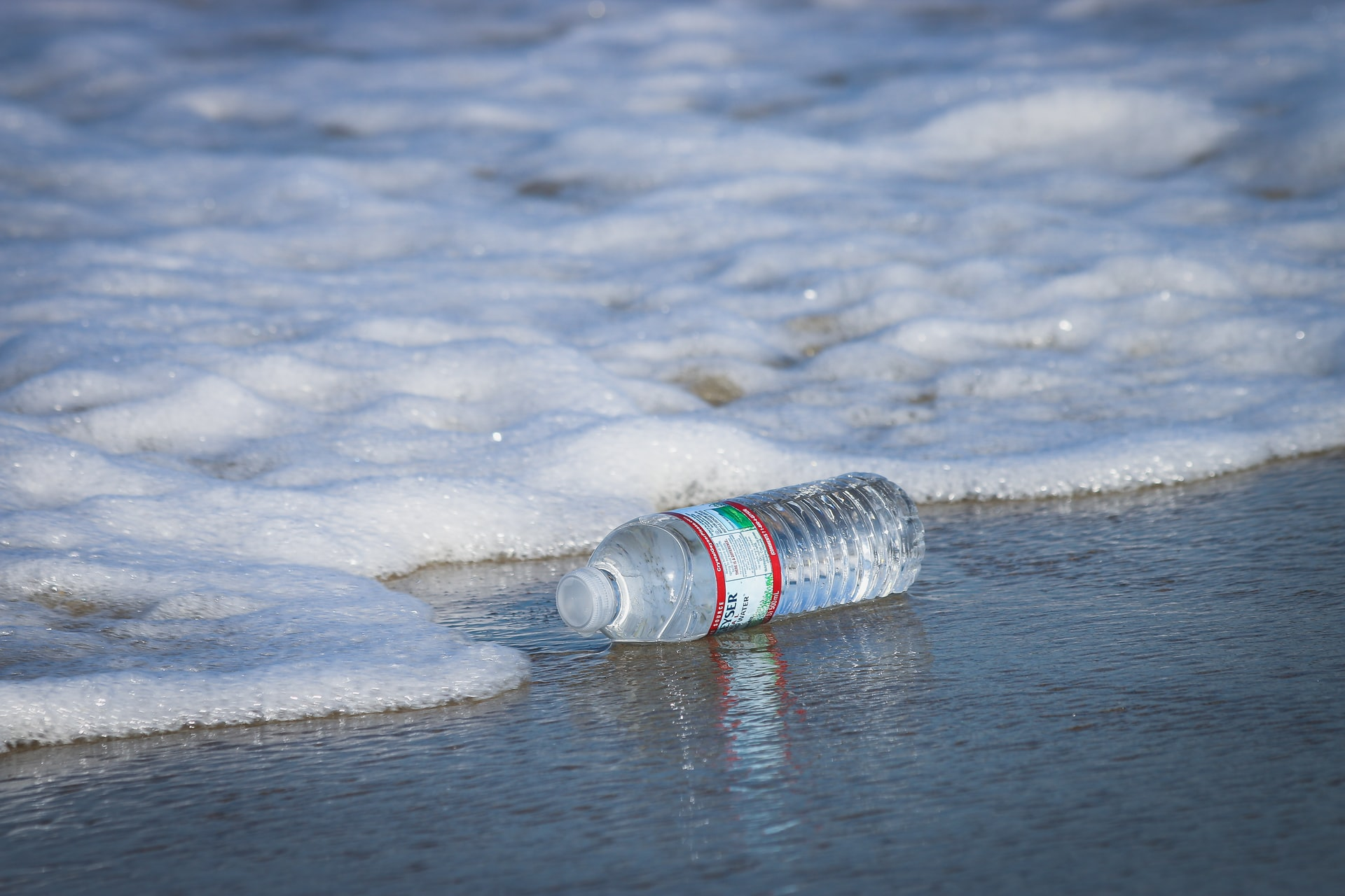 A plastic water bottle is seen on the ground