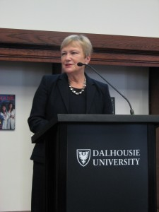 Dr. Ingrid Parent, speaking at a podium at Dalhousie on Feb 4th, 2016
