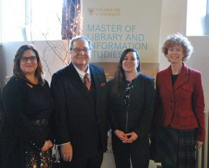 L to R: Dr. Sandra Toze (SIM Director), Dr. Guy Berthiaume (LAC), Sarah Horrocks, Donna Bourne-Tyson (Dal University Librarian)